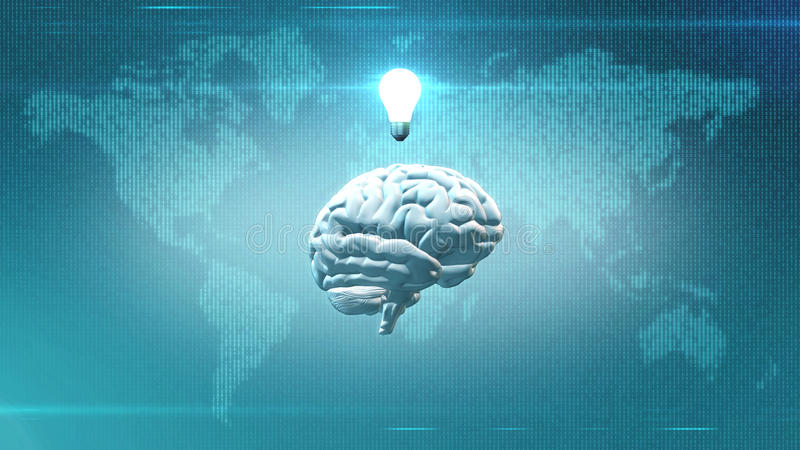 Inspiration concept - Brain in front of Earth illustration with lightbulb. CGI rendered brain with light bulb abovein front of digital map of the Earth royalty free illustration