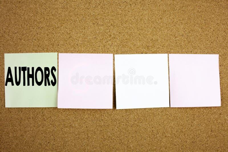Inspiration conceptuelle de légende des textes d'écriture de main montrant à auteurs le concept d'affaires pour la typographie de images libres de droits
