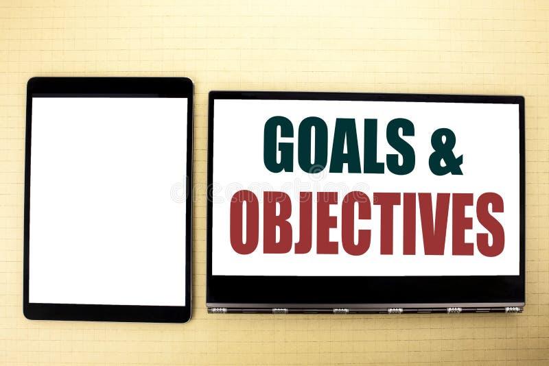Inspiration conceptuelle de légende des textes d'écriture de main montrant des objectifs de buts Concept d'affaires pour la visio image libre de droits