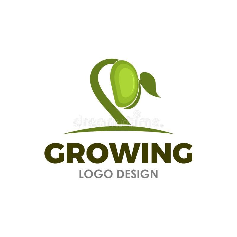 Inspiration croissante de conception de logo de graine illustration de vecteur