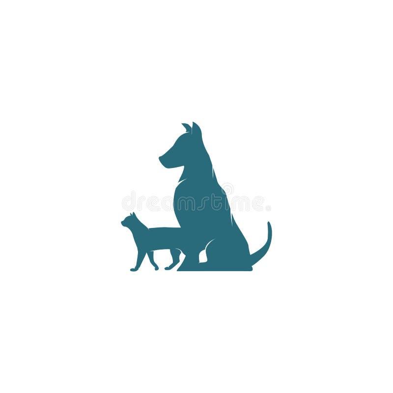 Inspiration de conception de logo de chien et de chat illustration de vecteur