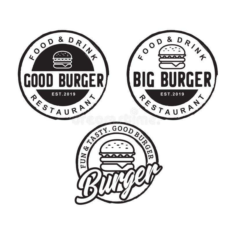 Inspiration de conception de logo d'hamburger avec le style de dessin de hippie - vecteur illustration de vecteur