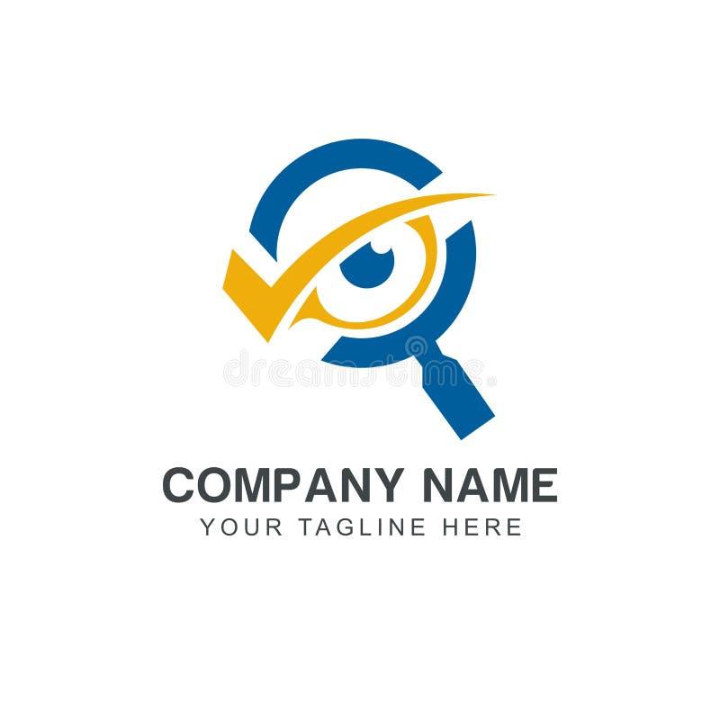 Inspiration de conception de logo de recherche d'oeil d'Eagle illustration stock