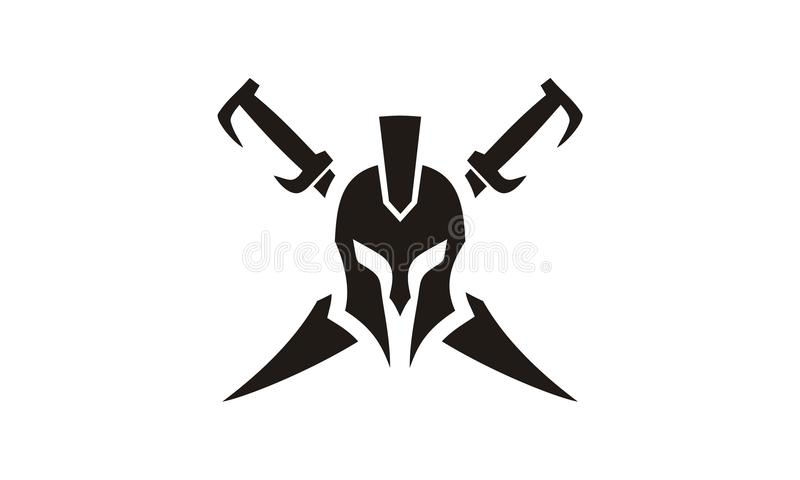 Inspiration de conception de logo de Spartan Warrior Helmet illustration de vecteur