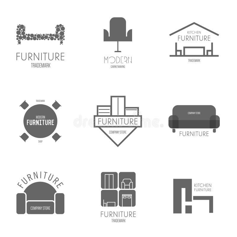 Inspiration de logo, d'insigne ou de label avec des meubles pour des boutiques, des sociétés, la publicité ou d'autres affaires photo stock