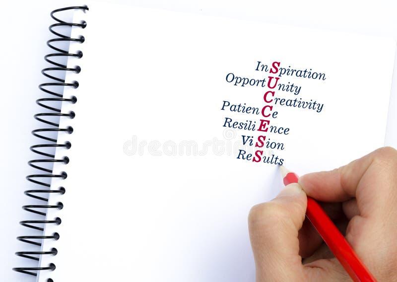 Inspiration de SUCCÈS d'acronymes, occasion, la patience, résilience, vision, résultats texte debout de reste d'image de figurine images libres de droits