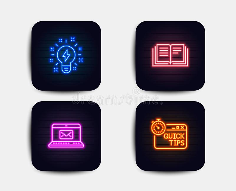 Inspiration, E-mail and Education icons. Quick tips sign. Creativity, New message, Instruction book. Vector. Neon set of Inspiration, E-mail and Education icons royalty free illustration