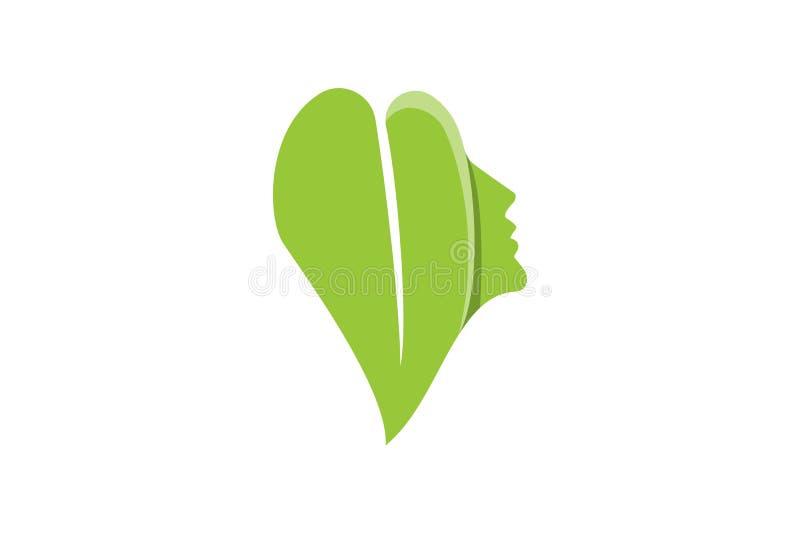 inspiration för designer för logo för för skönhetkvinnaframsida som och blad isoleras på vit bakgrund vektor illustrationer