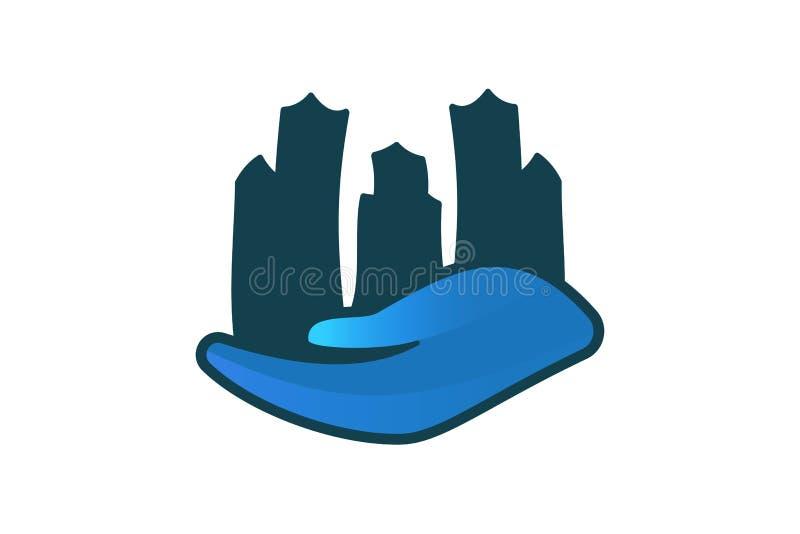 Inspiration för logo för stadsbyggnadsomsorg som isoleras på vit bakgrund stock illustrationer
