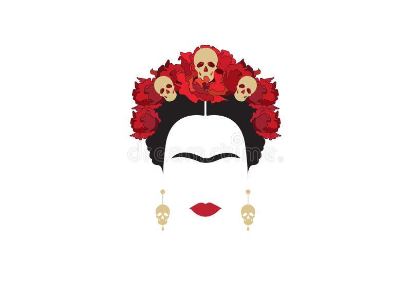 Inspiration Frida, stående av den moderna mexicanska kvinnan med skalleörhängen och skallar, illustration med genomskinlig bakgru stock illustrationer