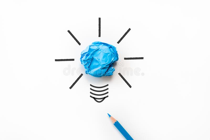 Inspiration and great idea concept. light bulb with crumpled stock images
