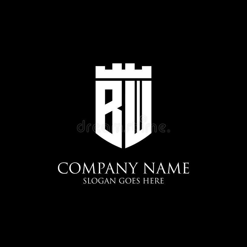 Inspiration initiale de conception de logo de bouclier de BW, calibre royal de logo de couronne - facile à utilisé pour votre log illustration libre de droits