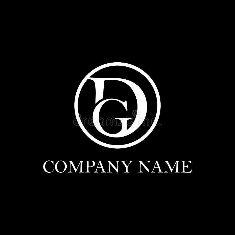 Inspiration initiale de conception de logo de dg, vecteur propre et intelligent, calibre de conception de logo de D et de K illustration de vecteur