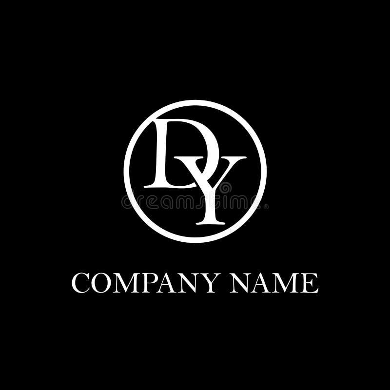 Inspiration initiale de conception de logo de Dy illustration stock