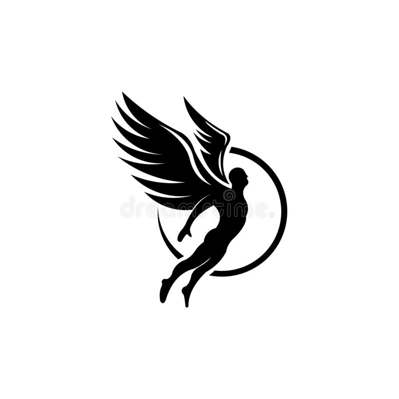 Silhouette Angel man Vector, winged man. Inspiration logo vector black silhouette Angel man Vector, winged man royalty free illustration