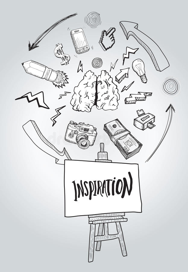 Inspiration message with illustrations. On grey background royalty free illustration