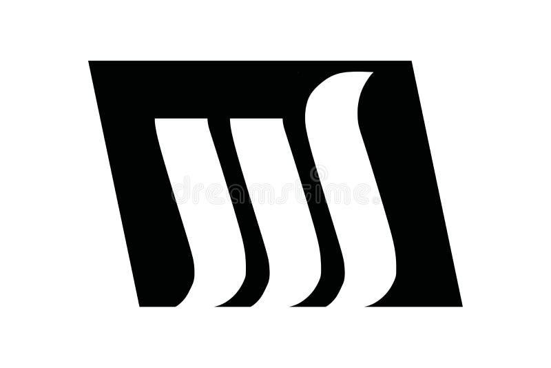 Inspiration négative de conception de logo de la lettre W M de l'espace illustration stock