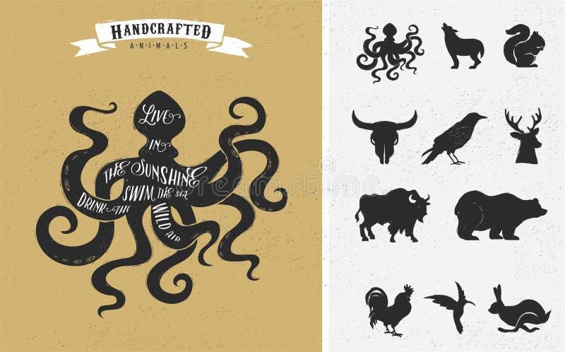 Inspiration quote hipster vintage design set stock illustration