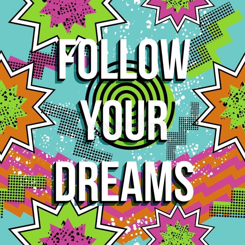 Inspiration quote motivation dream retro pop comic stock photography
