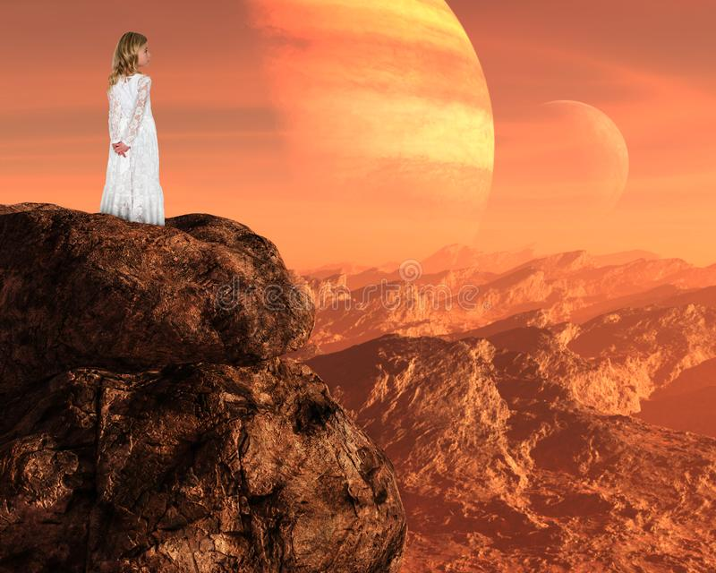 Inspiration, Spiritual Rebirth, Peace, Hope Love. A young girl stands above a surreal mountain landscape. Abstract concept for peace, hope, love, nature, and stock photo