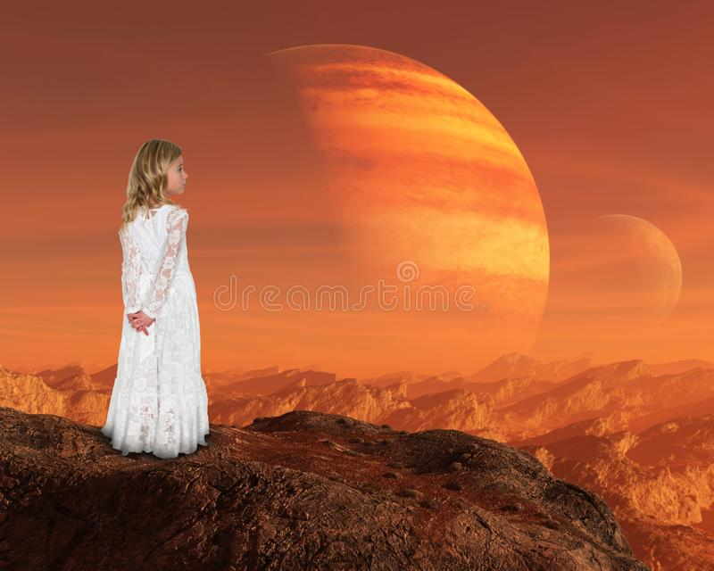 Inspiration, Spiritual Rebirth, Peace, Hope Love. A young girl stands above a surreal mountain landscape. Abstract concept for peace, hope, love, nature, and stock photography