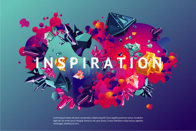 Inspiration trendy poster. Presentation cover template with abstract shapes and crystal. Modern organic surface with royalty free illustration