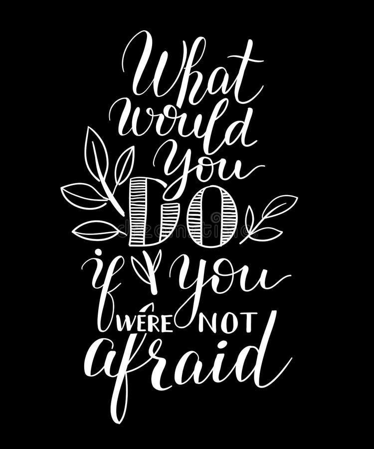 Inspirational affiche van citaat witte chilk op donkere achtergrond stock illustratie