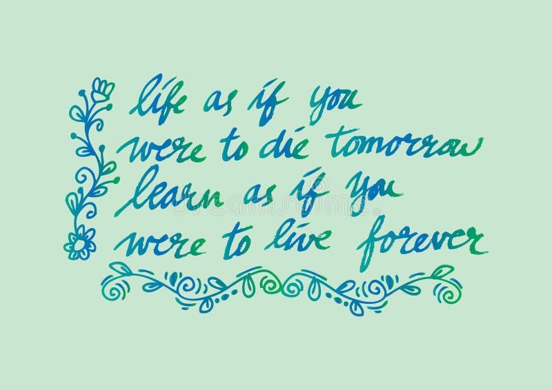 Inspirational citaat door Mahatma Gandhi royalty-vrije illustratie
