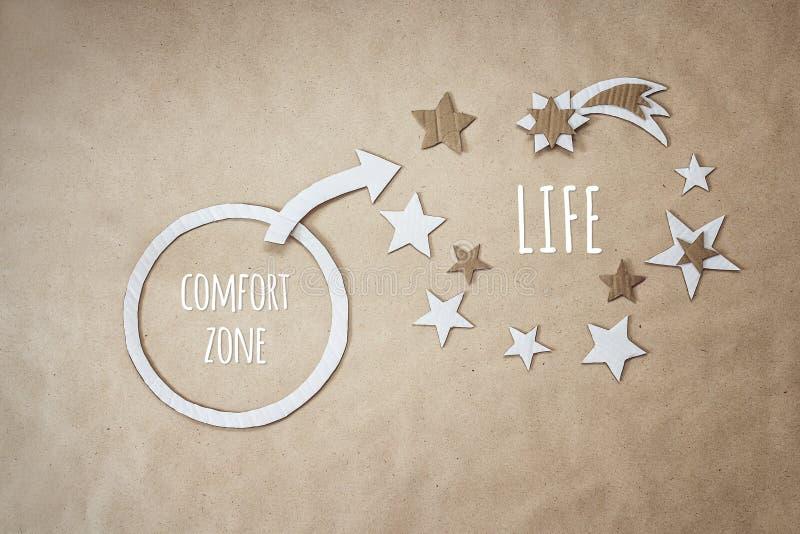 Inspirational citaat en aanmoediging om uw comfortstreek te verlaten stock foto