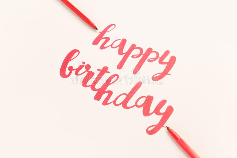 Inspirational citaat` Gelukkige verjaardag ` voor groetkaarten en affiches stock illustratie
