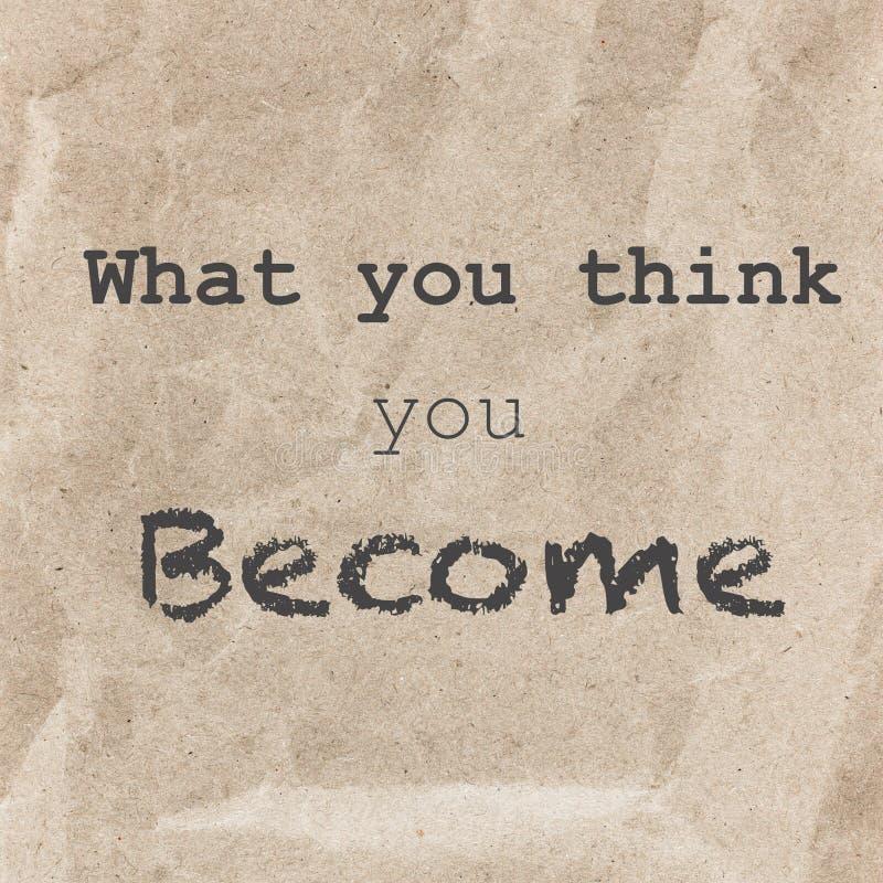 Inspirational citaat over geweven document achtergrond Wat u Th stock illustratie