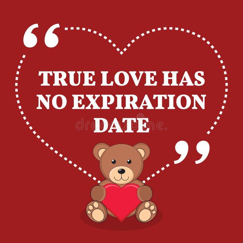 Inspirational citaat van het liefdehuwelijk De ware liefde heeft geen afloop D royalty-vrije illustratie