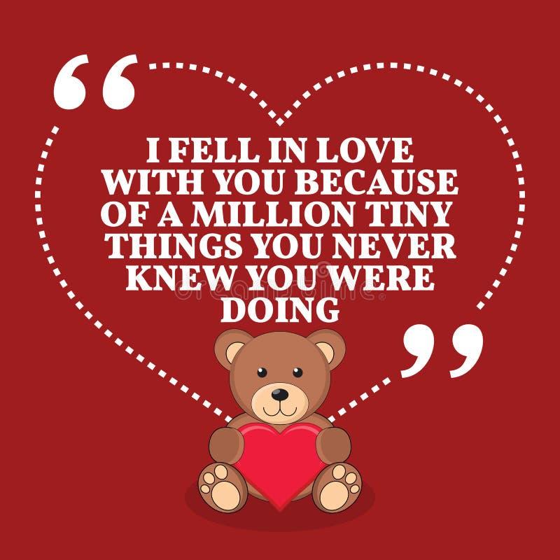 Inspirational citaat van het liefdehuwelijk Ik viel in liefde met u becau vector illustratie