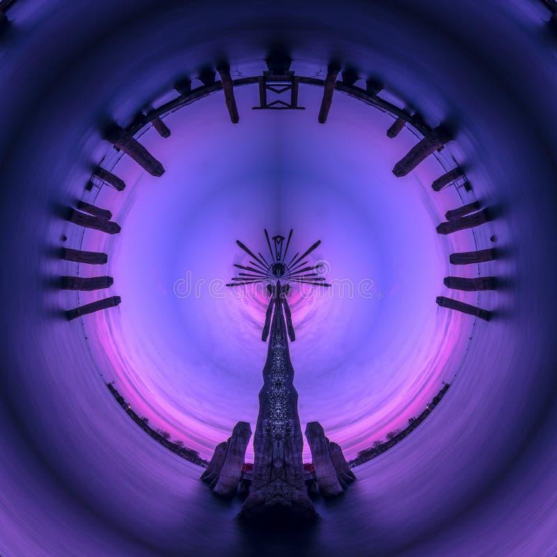 Inspirational donker violet abstract grafisch humeurig de fantasiebehang van de kunstwerkcirkel royalty-vrije illustratie