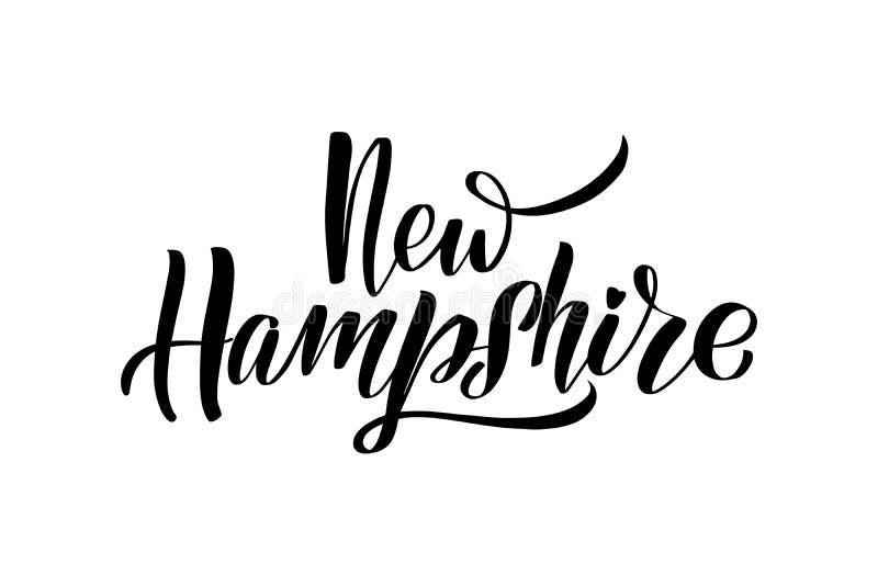 Handwritten brush lettering. Inspirational handwritten brush lettering New Hampshire. Vector calligraphy illustration isolated on white background. Typography royalty free illustration