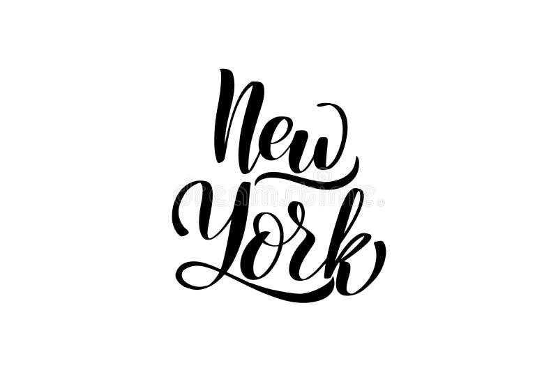Handwritten brush lettering. Inspirational handwritten brush lettering New York. Vector calligraphy illustration isolated on white background. Typography for royalty free illustration