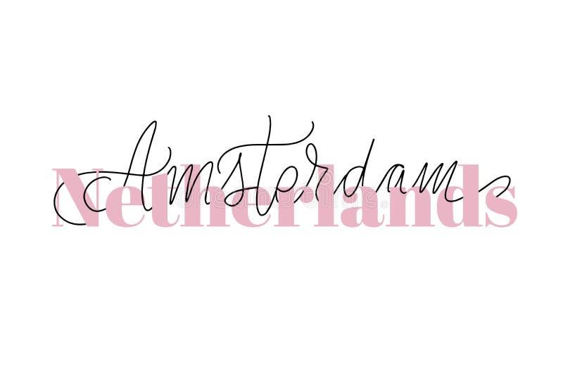Inspirational handwritten brush lettering . Vector calligraphy illustration. Inspirational handwritten brush lettering Netherlands Amsterdam. Vector calligraphy stock illustration
