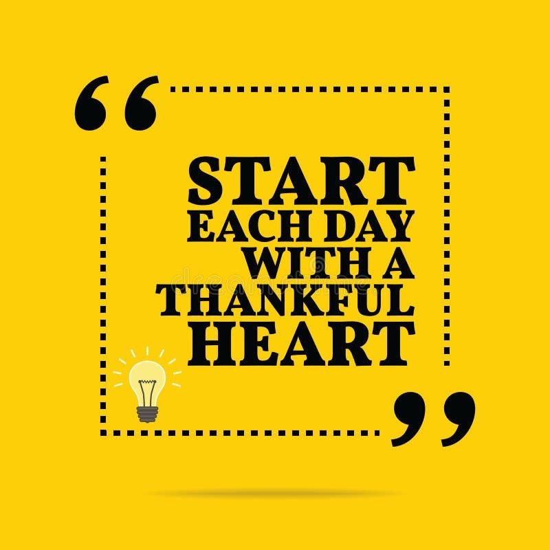 Inspirational motievencitaat Begin elke dag met dankbaar vector illustratie