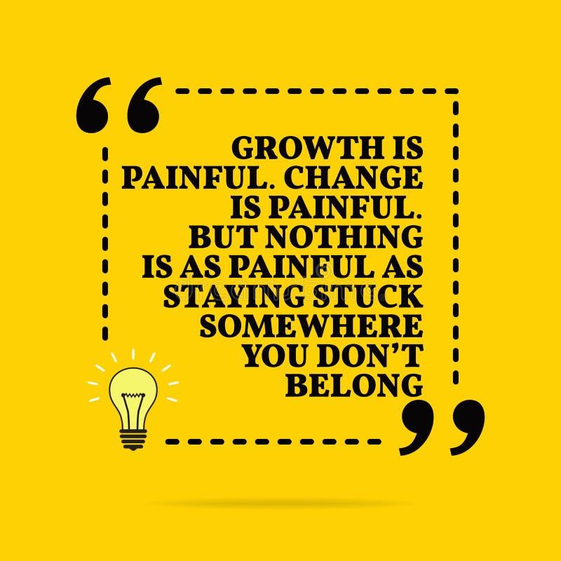 Inspirational motievencitaat De groei is pijnlijk De verandering is pijnlijk Maar niets is zo pijnlijk zoals blijvend ergens gepl vector illustratie