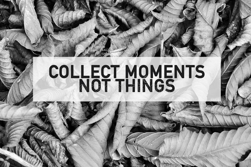 Inspirational motivating quote of collect moments not things on full frame dried leaves in black and white stock images