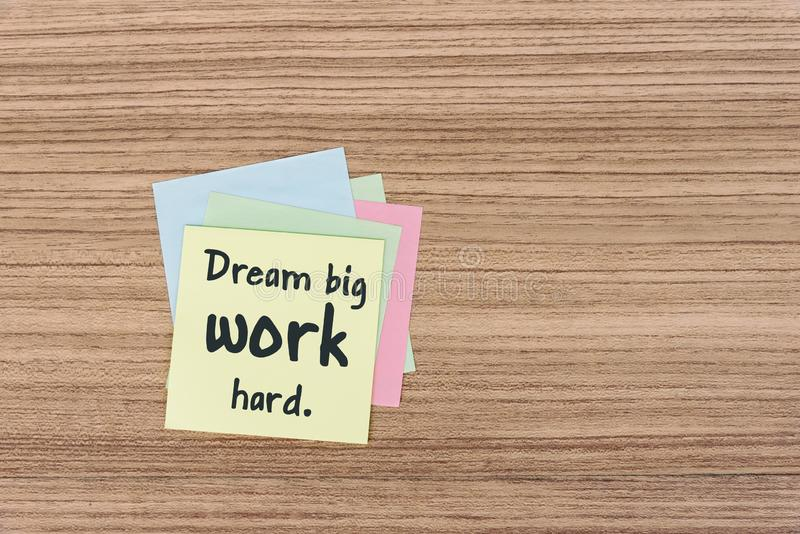 Life Quotes - Dream big work hard. Inspirational and motivation Life Quotes - Dream big work hard stock images