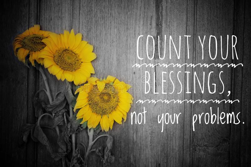 Inspirational motivational quote - count your blessings, not your problems. With three beautiful blossom on rustic wooden board stock image
