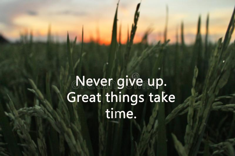 Inspirational motivational quote-never give up. Great things take time. With green paddy field and colorful sky at sunset time as stock photography