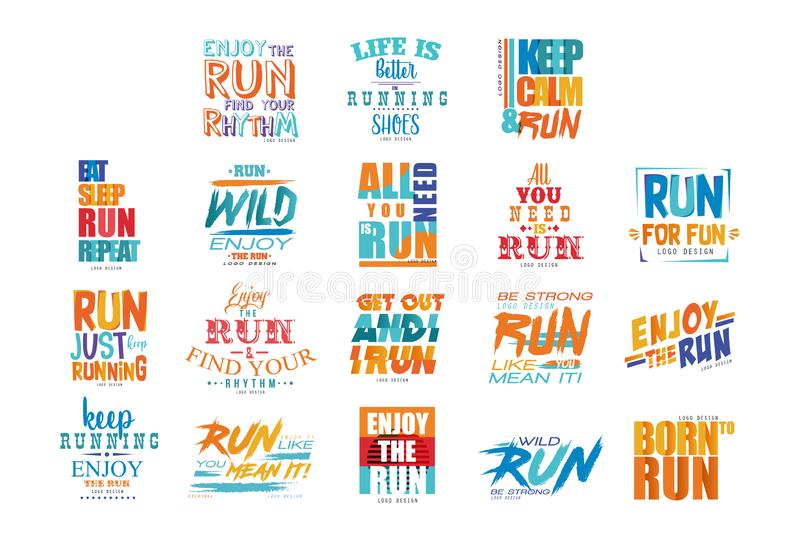 Inspirational and motivational slogans set, design element for running poster, card, decoration banner, print, badge stock illustration