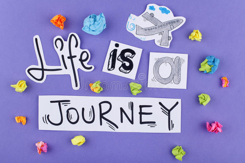 Inspirational Motivational Travel Quote Phrase Life is a Journey royalty free stock photo