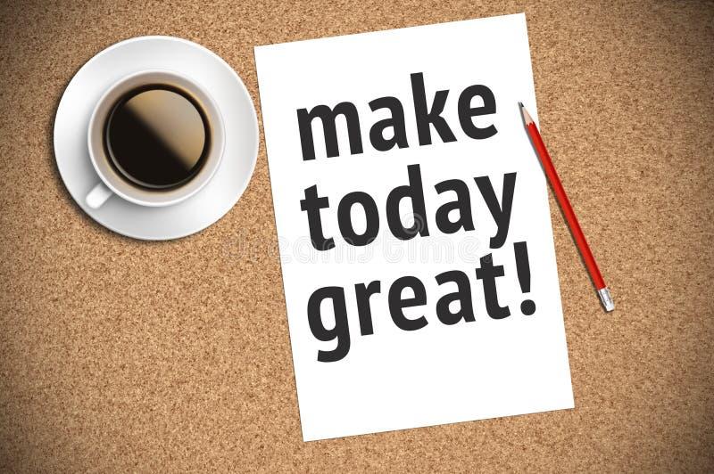 Inspirational motiverend citaat op papier met koffie, potlood en cork achtergrond stock afbeelding