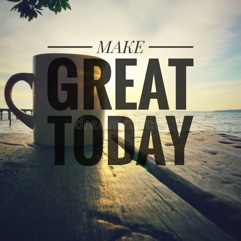 Inspirational motiverende citaten op zonsopgangachtergrond Maak vandaag groot royalty-vrije stock fotografie