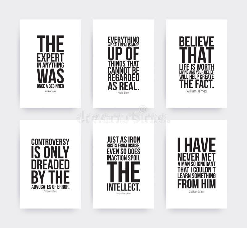 Inspirational motiverende geplaatste citaten stock illustratie
