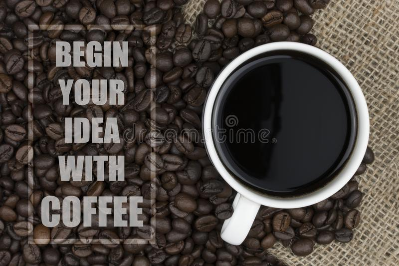 Download Inspirational Quote With Coffee Beans And Coffee Cup Background  Stock Photo   Image Of Aroma