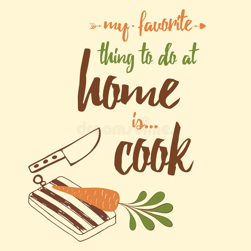 Inspirational Quote About Cooking Decorated Kitchen Tools Stock Vector Illustration Of Letter Background 89320928
